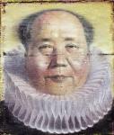 Herr Mao X, 182 x 146 cm, 2013, Öl, Wasserfarben auf Papierhybrid, auf Holz