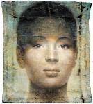 """""""Mädchenbildnis"""" Öl, Wasserfarbe auf Papierhybrid, auf Holz, 2013, 140 x 120 cm"""