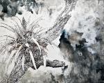 Tree, 120 x 150 cm, Tusche , Tinte auf Leinwand, 2019
