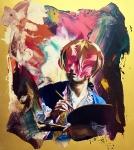 Im goldenen Malerknast, 200 x 180 cm, Öl, Mischtechnik auf Leinen, 2021
