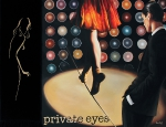 """""""private eyes"""" Öl, auf Leinwand u. Teppich, 2011, 170 x 225 cm"""