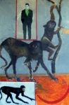 Monkeys with Lemur, 71x50,8 cm, Öl auf Papier,  2007