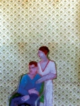 Two Figures in Room,  66x50,8 cm, Malereicollage auf Papier, 2010