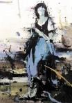 """Violet girl"" 195 x 135 cm, 2018, Acryl/Lack auf Leinwand"